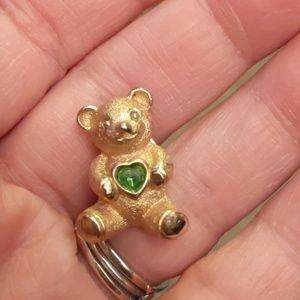 Teddy Bear Gold Green Pin